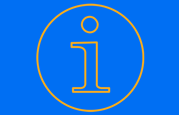Yellow information ico0n on a blue background